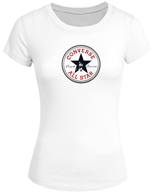 be28caec067e Funny Chuck Norris Converse Logo for 2016 Women Printed Short Sleeve Tee  T-Shirt  Amazon.ca  Clothing   Accessories