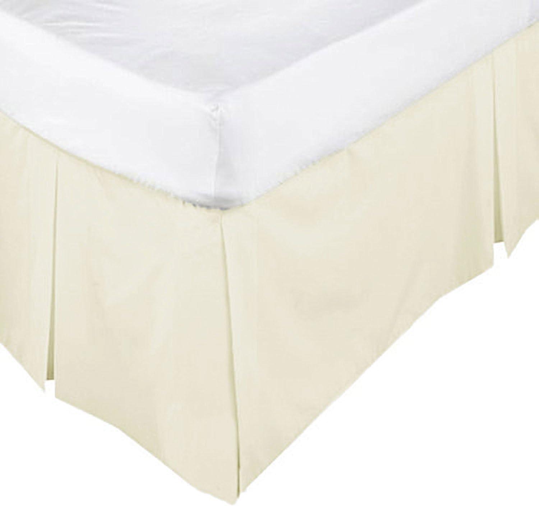 Poly Cotton Plain Dyed Platform Base Valance Box Pleated Sheet White Double