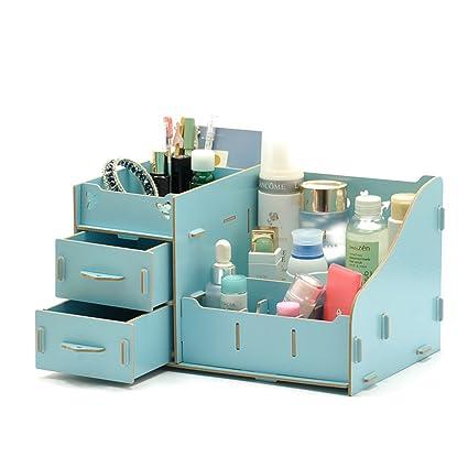 Escritorio de madera organizador maquillaje almacenamiento pantalla joyas cosméticos caja de belleza, madera, Blue