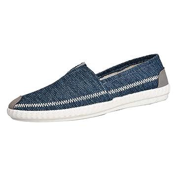 LuckyGirls Zapatos para Hombre Zapatillas de Lino Paja Lona Casual Calzado de Planos Transpirables Informales Bambas