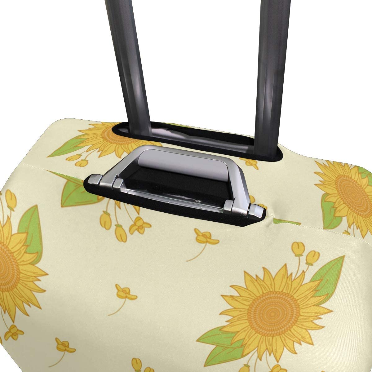 Travel Luggage Cover Yellow Sunflowers Green Leaves Suitcase Protector