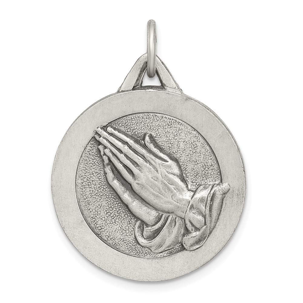 Jewelry Stores Network Praying Hands Charm Religious Pendant in Antiqued 925 Sterling Silver 30x20mm