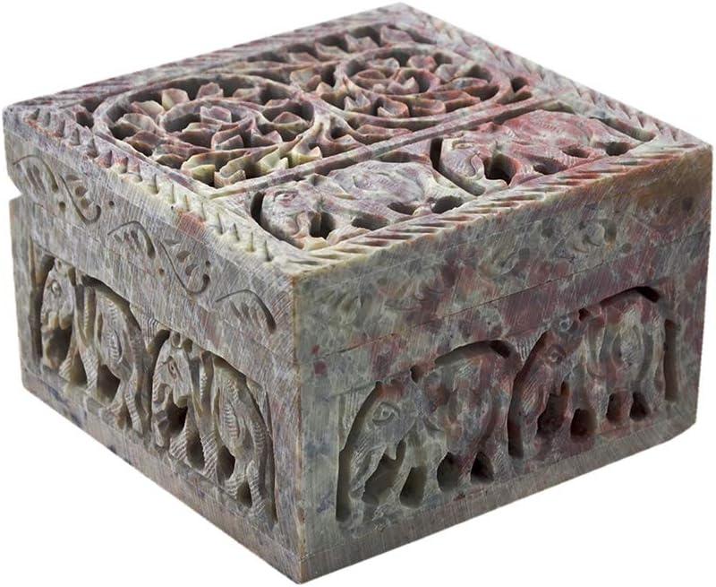 Caja Decorativa de Almacenamiento de esteatita Natural con diseño de Flores talladas. De Hashcart, Piedra, Style 3