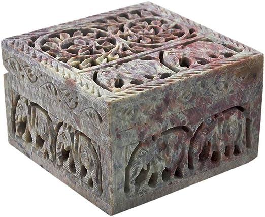 Caja Decorativa de Almacenamiento de esteatita Natural con diseño ...