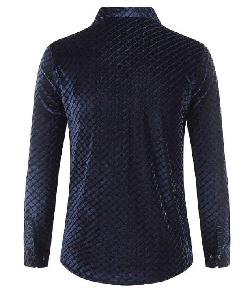 Smallwin Men Long Sleeve Classic Velvet Button Down Shirts
