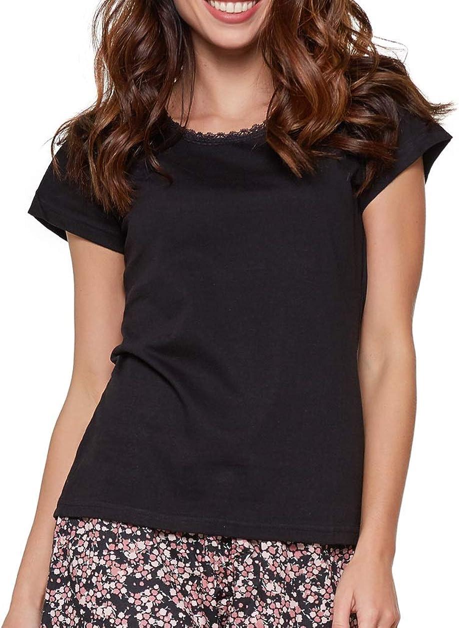 Moonline moderner und bequemer Damen Schlafanzug//Shorty-Pyjama Verschiedene Modelle mit weicher Baumwolle