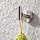 #10: KES SUS 304 Stainless Steel Coat Hook Single Towel/Robe Clothes Hook for Bath Kitchen Garage Heavy Duty Contemporary Hotel Style Wall Mounted, Brushed Finish, A2164-2