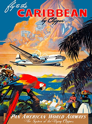 A SLICE IN TIME Fly to the Caribbean Pan American World Airways Parrot Vintage Travel Home Collectible Wall Decor Advertisement Art Poster Print. 10 x 13.5 inches Advertisement Art Poster Print