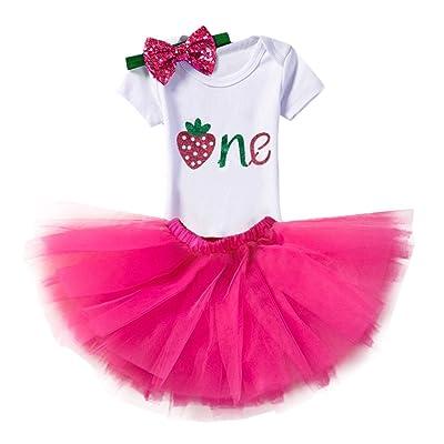 IWEMEK Nouveau-né Bébé Enfants Bambin Filles 1er/2ème anniversaire Princesse Bowknot Ensemble de 3PCs Barboteuse + Jupe Tutu + Bandeau pour Fête Anniversaire Costume de Photographie
