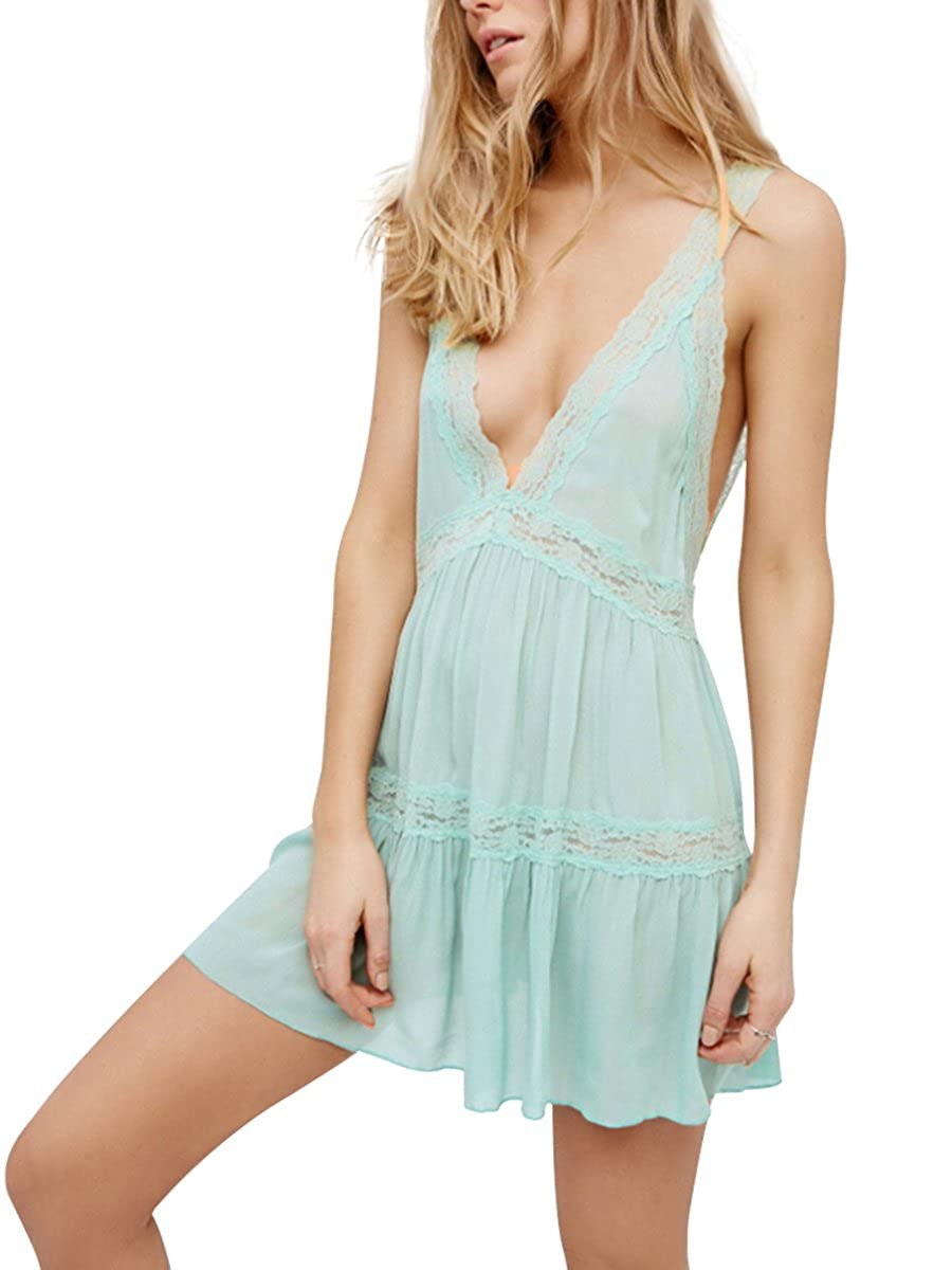 34c4d7ce53288 Material: Rayon, Color: Black, Pink, Green Tank style, loose fit, front  V-neck, low cut V-back. Lace trim along neckline, waist and skirt for a  sweet look