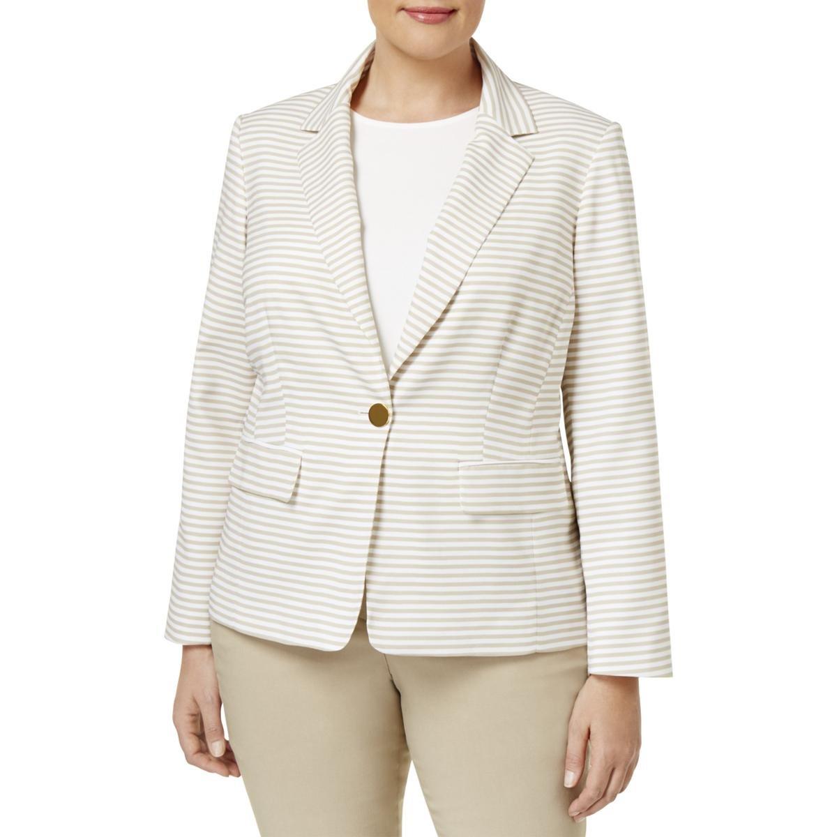 Calvin Klein Womens Plus Striped Long Sleeve One-Button Blazer White 24W