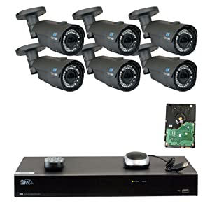 8 Channel H.265 NVR 6 x 4 M Pixel 2.8~12mm Lens IP Security Camera 5T HD