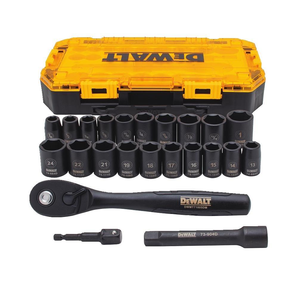 DEWALT Tough Box 23 PC 1/2 Drive Impact Socket Set