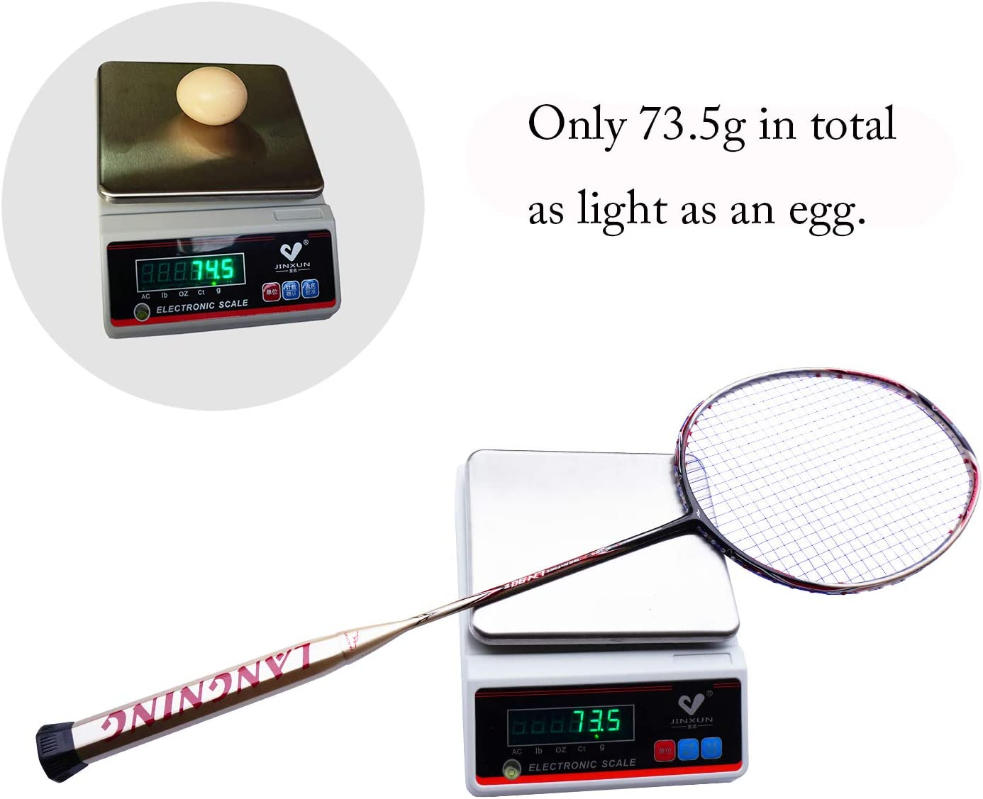 68g Badminton Racquet Light Racket Set Carbon Fiber 7u Best Tournament Single Shuttle Bat Carrying Bag