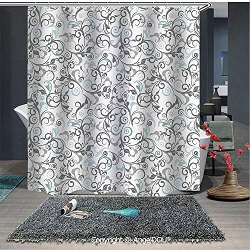 (AngelDOU Floral Polyester Waterproof Shower Curtain Damask Antique Baroque Curls Classic Old Fashioned Artistic Royal Revival Decora for Bathroom Decoration with Free Hooks)