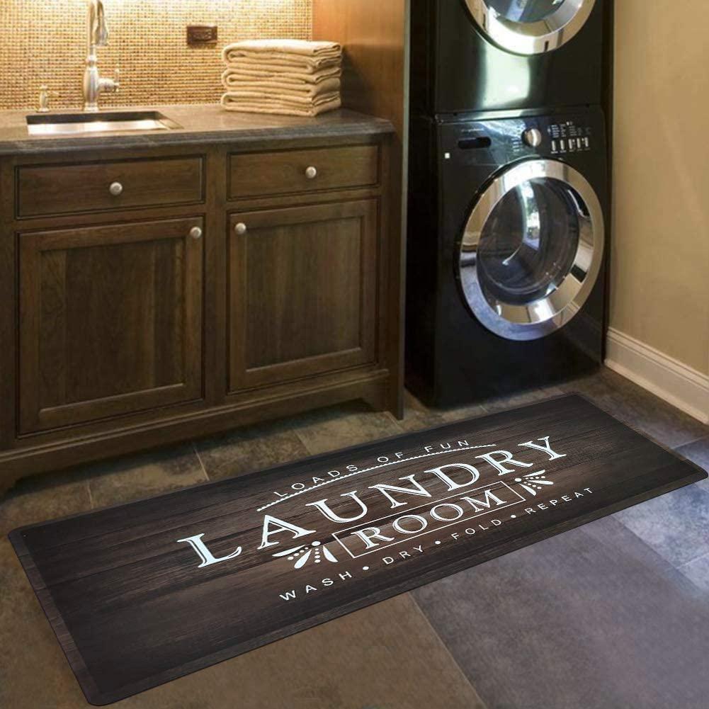 USTIDE Non Slip Laundry Room Rug, Rubber Backed Waterproof Kitchen Mat Laundry Room Decor Washouse