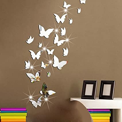 Amaonm 21 PCS Removable Crystal Acrylic Mirror Butterfly Wall Decals ...