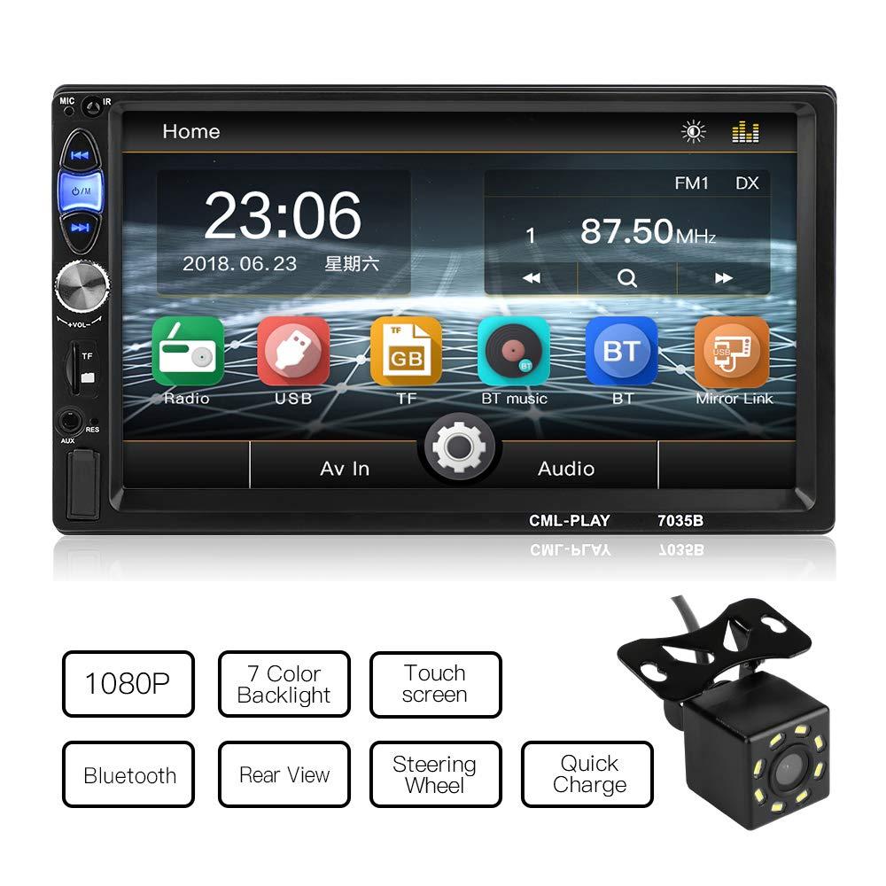 MiCarBa 7 pulgadas HD 1024 * 600 Reproductor de video esté reo para auto con doble Din, pantalla tá ctil Esté reo para auto con control remoto Soporte FM Android Telé fono Enlace de espejo SANCHE ELEC
