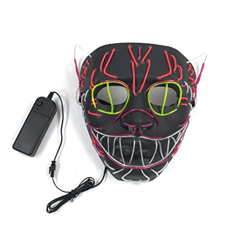Bestmemories EL Wire Mask Flashing Cosplay LED Mask Glowing Cat Mask Costume Anonymous Mask for Glowing Dance Carnival Party Masks Halloween ...