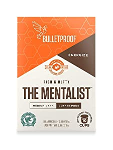 Bulletproof The Mentalist Roast Coffee Pods, Premium Dark Roast, Organic, single-serve cups, compatible with Keurig, Keurig 2.0 (10 Count)