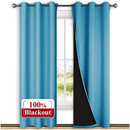 Nicetown 100 Blackout Curtains 84 Inches Long Pair Of Energy Smart Noise Blocking Out Drapes For Baby Room Window Thermal Insulated Guest Room