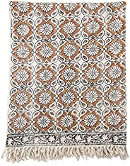 "Bloomingville 60"" x 50"" Cotton Printed Floral Design & Fringe Thr"