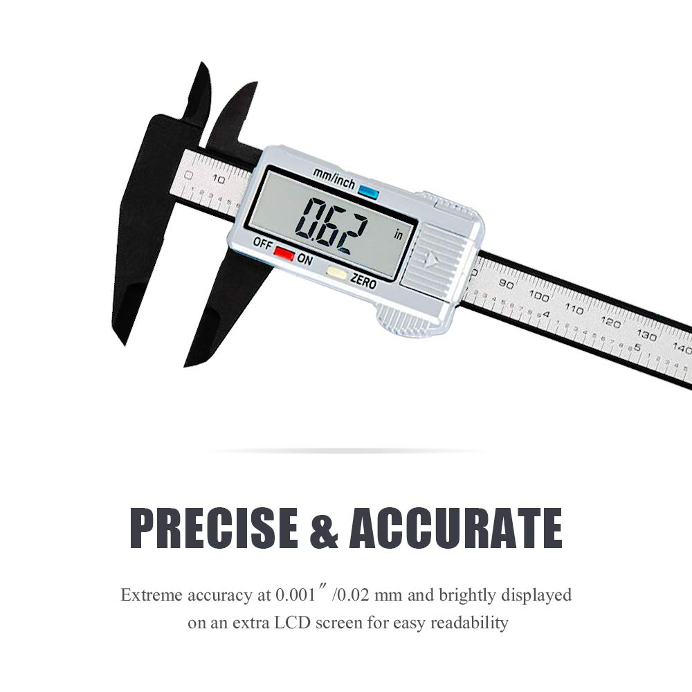 Digital Vernier Caliper Electronic Caliper 6 inch/150 mm Accurate Measuring Tools with Extra-Large LCD Screen-inch/Metric Conversion