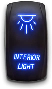 BLUE Laser LED Rocker Switch 5PIN Dual Light 20A 12V ON OFF OFF ROAD ADVISORY
