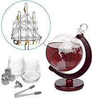 Nandae Set de Jarra de Globo de Whisky con 2 Vasos de decantador de Vino Antiguo para velero
