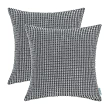 Pack of 2, CaliTime Cushion Covers Throw Pillow Cases Shells, Comfortable Soft Corduroy Corn Striped Both Sides, 26 X 26 Inches, Grey