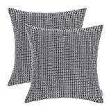 Decorative Pillow Cover - Pack of 2, CaliTime Throw Pillow Covers Cases for Couch Sofa Bed, Comfortable Supersoft Corduroy Corn Striped Both Sides, 22 X 22 Inches, Grey