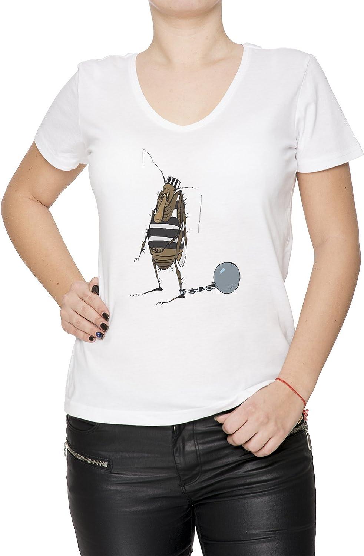 Pulga Bloqueado Cárcel Mujer Camiseta V-Cuello Blanco Manga Corta Tamaño XXL Womens T-Shirt V-Neck White X-Large Size XXL: Amazon.es: Ropa y accesorios