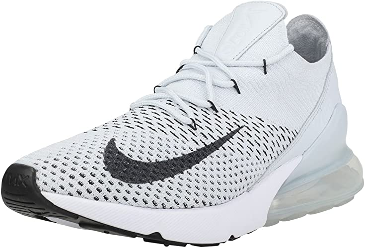 NIKE Air Max 270 Flyknit Mens Trainers Platinum 12 UK