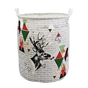 Mziart Large Laundry Basket Canvas Fabric Collapsible Laundry Hamper Sorter Round Storage Bin Gift Storage Basket Baby Hamper for Nursery, Home, College Dorms, Kids Toy Organizer (Cute Deer)