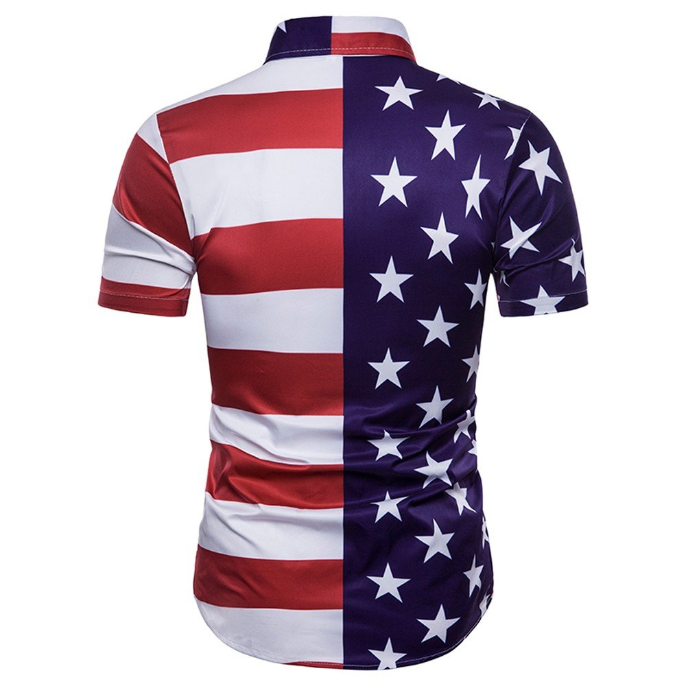 Mens Casual Shirts Strip Star Print Splice American Flag Slim Short Sleeve Shirt Top