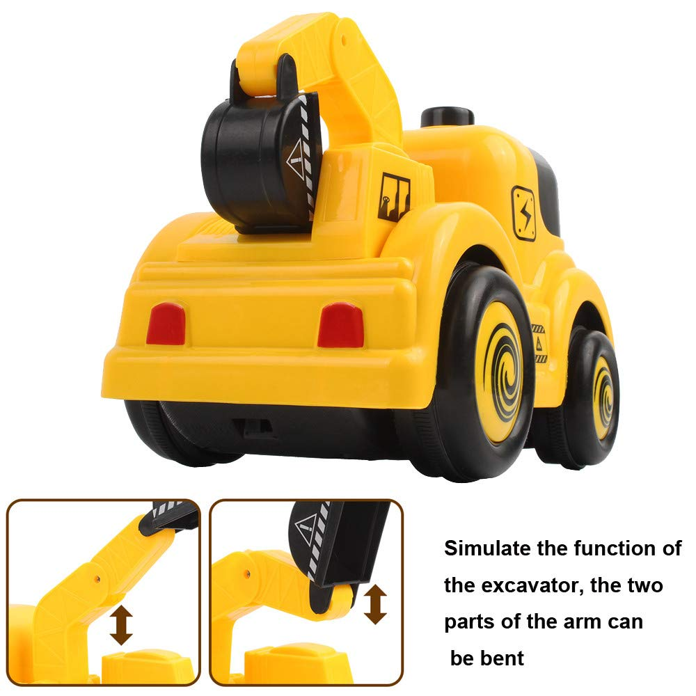 DICPOLIA 1:20 2.4G Remote Control Cartoon Truck Construction Vehicle Car Toy Gift New,Car Toys for Kids Toddlers Baby Boys Girls Adults Seat Model Toys Steering Wheel Car Toy Track (Yellow)
