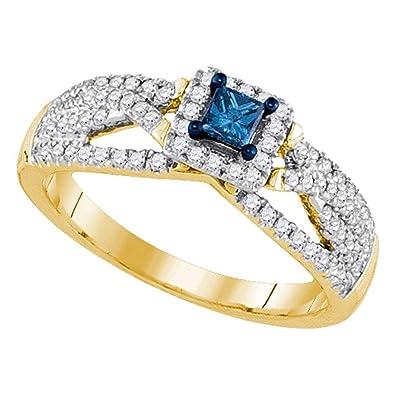 14kt Yellow Gold Womens Princess Blue Color Enhanced Diamond Solitaire  Bridal Wedding Engagement Ring 1  72115d9795