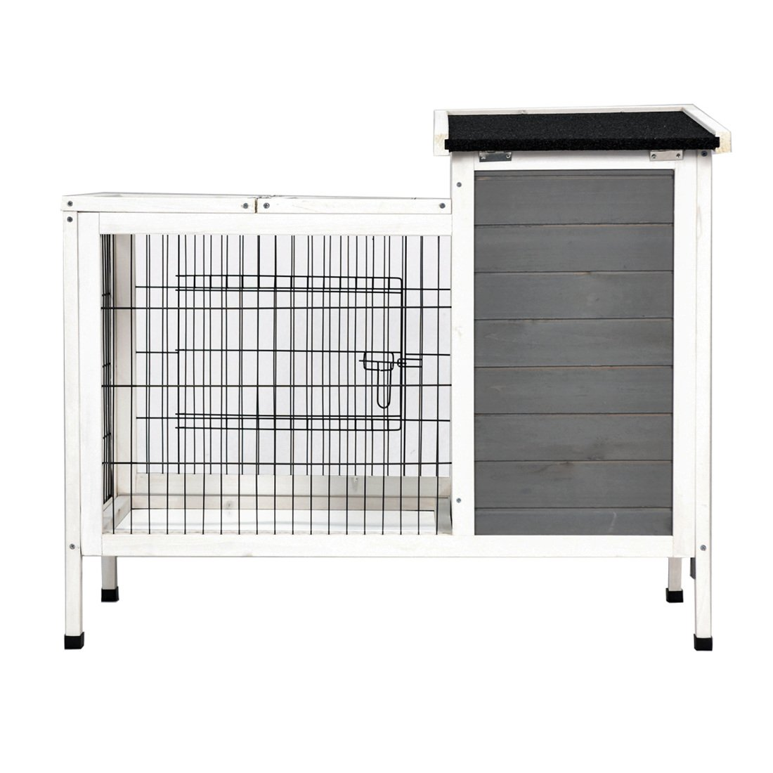 Good Life Wooden Outdoor Bunny Hutch Rabbit Cage Guinea Pig Coop PET House Gray & White Color PET502 by GOOD LIFE USA (Image #2)