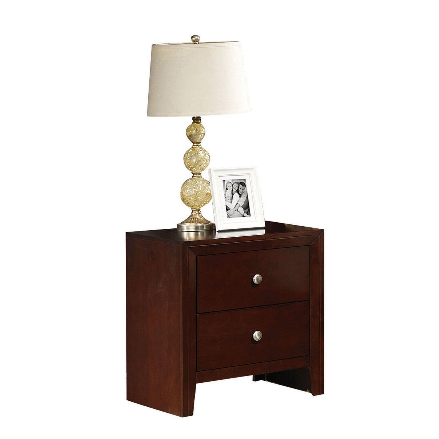 Major-Q 9020403 Brown Cherry Finish 2-Drawer Nightstand