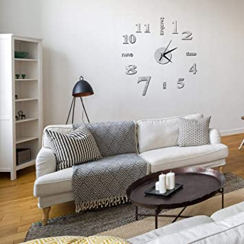Buy Foonee Diy Mirror Wall Clock Sticker 3d Mirror Stickers 3d Diy Wall Clock Creative Design For Coffee Shop Home Office Frameless Silent 60x60cm Online At Low Prices In India Amazon In