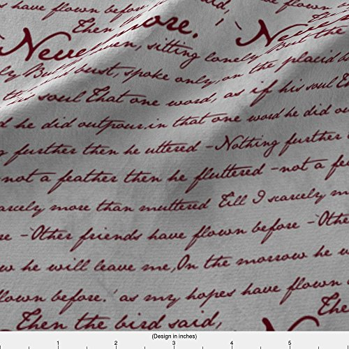 Spoonflower Nevermore Fabric Nevermore in Blood Red ~ Edgar Allan Poe ~ Medium by Peacoquettedesigns Printed on Basic Cotton Ultra Fabric by The Yard