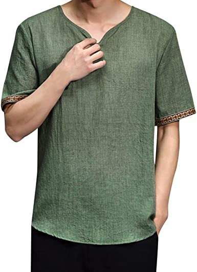 Ni_ka Camisas con capucha para hombre de algodón y lino