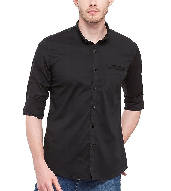 nick jess Camisa Casual - Básico - Cuello MAO - Manga Larga - Para Hombre  Negro Negro 4b9831ff7f8