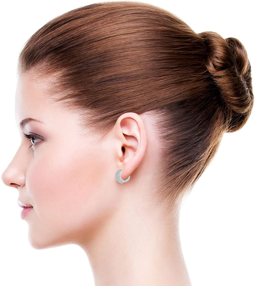 14k Gold White Rhodium Small Hoop Wide Huggies Earring Created CZ Crystals 9mm Diameter