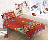 Rudolph Reindeer Christmas Kids Presents Stars Quilt Duvet Cover and Pillowcase Bedding Bed Set, Red, Single