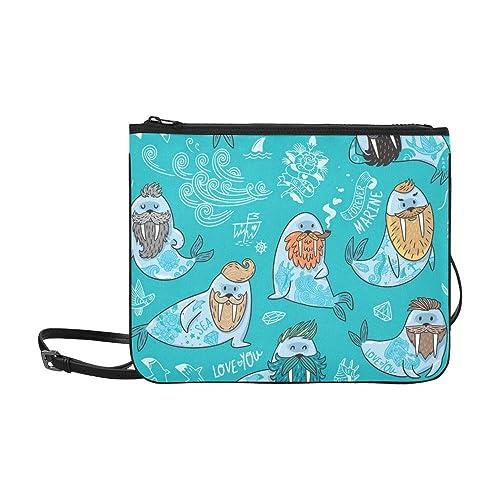 AGIRL Personajes de dibujos animados Divertidos morsas Personalizado Alto grado de nylon Delgado bolso de embrague Bolso cruzado bolsa de hombro: Amazon.es: ...