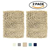 Super Soft Bath Mat Microfiber 2 Pack Shag Bathroom Rugs Non Slip Absorbent Fast Drying Bathroom Carpet by FlamingoP(Taupe 17