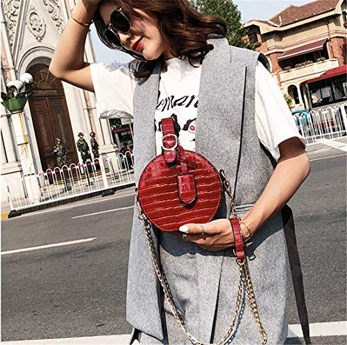 Round Designer Brands Leather Daily Purse Style Red Handbags PU Women Leather Crocodile Western Chain 84XBv