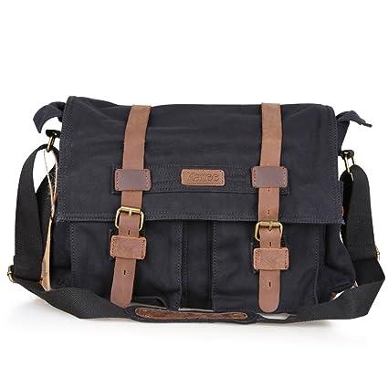395913441 Kattee Men's Canvas Leather DSLR SLR Vintage Camera Messenger Bag:  Amazon.co.uk: Luggage
