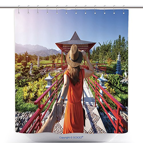 Man In The Yellow Hat Costume Ebay (Antibacterial Shower Curtains Woman In Orange Dress And Hat Holding Man By Hand Going To Japanese Garden With Pagoda 450705139 Polyester Bathroom Shower Curtain Set With Hooks)